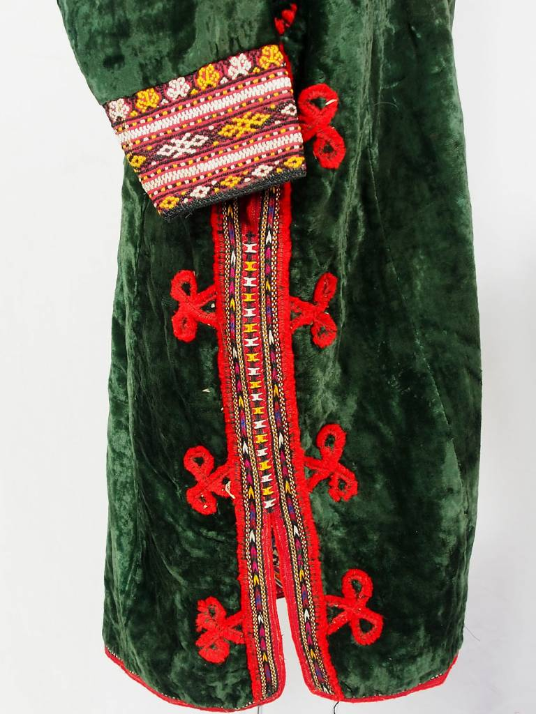 Turkmen antique velvet Chapan  coat Chirpy grün samt Mantel khalat No:18/21