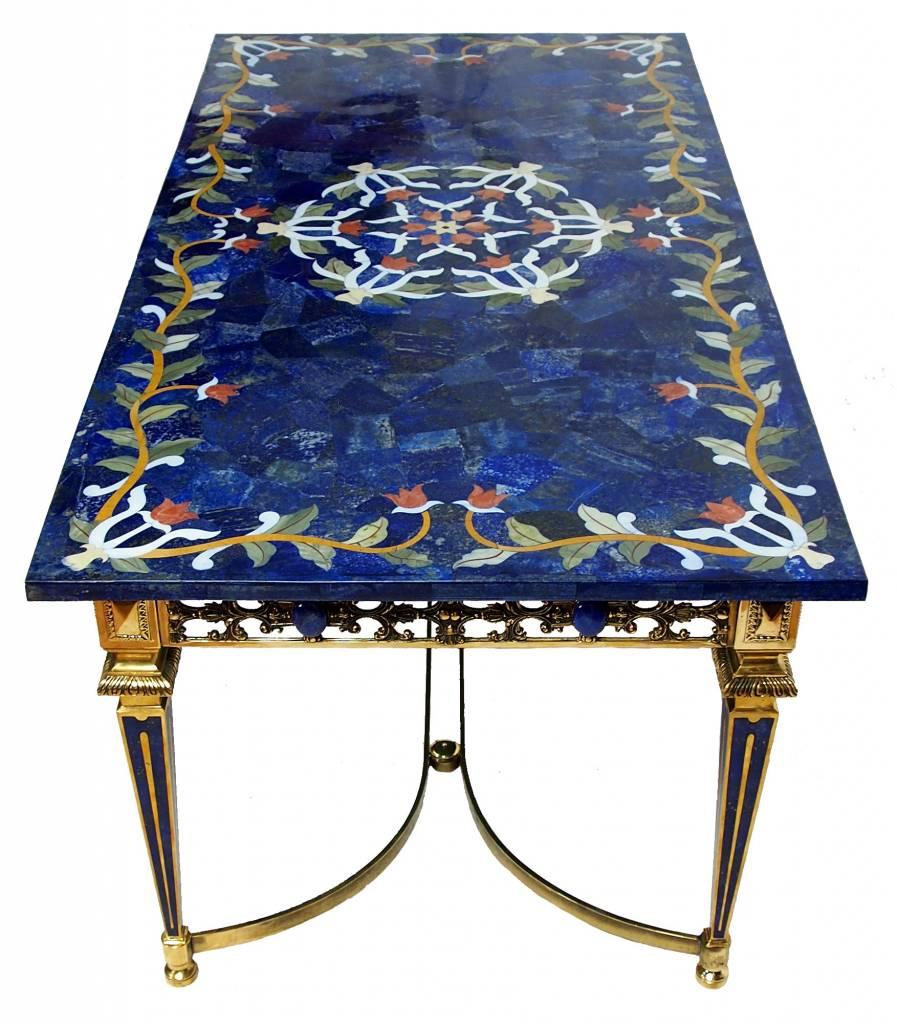 120x60 cm Marmor authentic Lapis Lazuli Pietra Dura Couchtisch Tisch Florentiner Mosaik Intarsienarbeit wohnzimmertisch Afghanistan Mit Messing Gestell