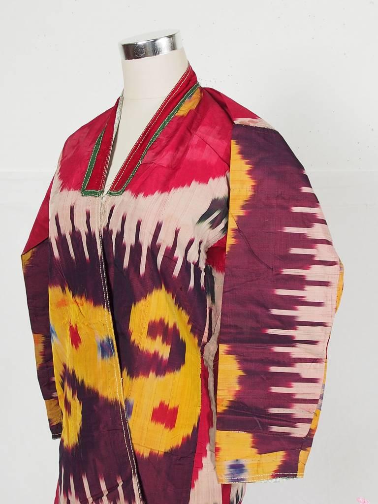 antique hand embroidered nomadic Turkmen Uzbek Afghan Ethnic ikat silk Chapan coat Chirpy Green  No-18-32