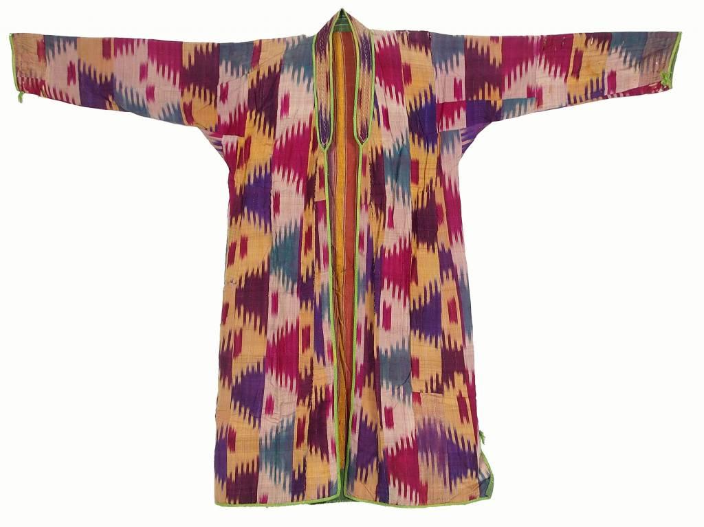 antique hand embroidered nomadic Turkmen Uzbek Afghan Ethnic ikat silk Chapan coat Chirpy Green  No-18-37