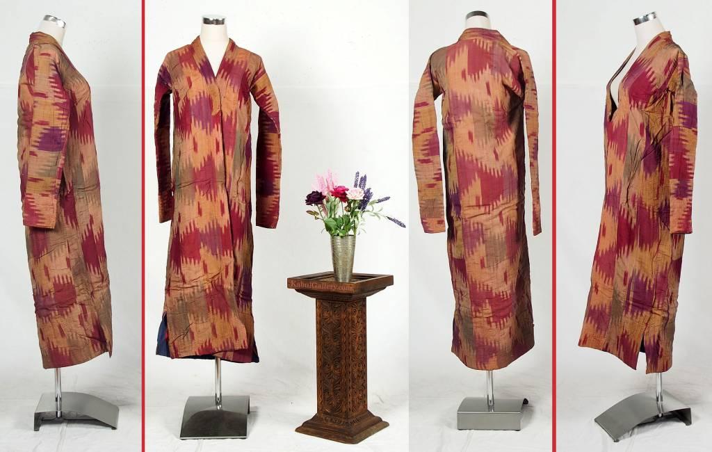 antique hand embroidered nomadic Turkmen Uzbek Afghan Ethnic ikat silk Chapan coat Chirpy Green  No-18-38