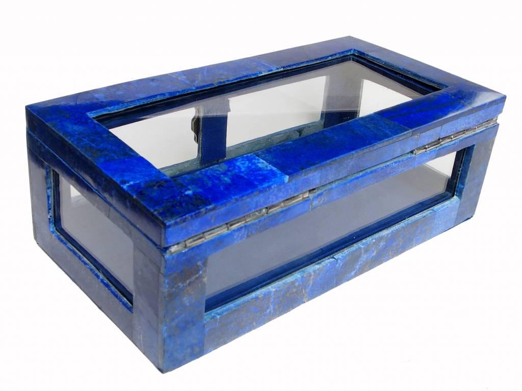 Extravagant Royal blau echt Lapis lazuli Schmuckkiste mit Glas aus Afghanistan Nr-18/A