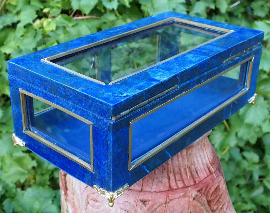 Extravagant Royal blau echt Lapis lazuli Schmuckkiste mit Glas aus Afghanistan Nr-18/B