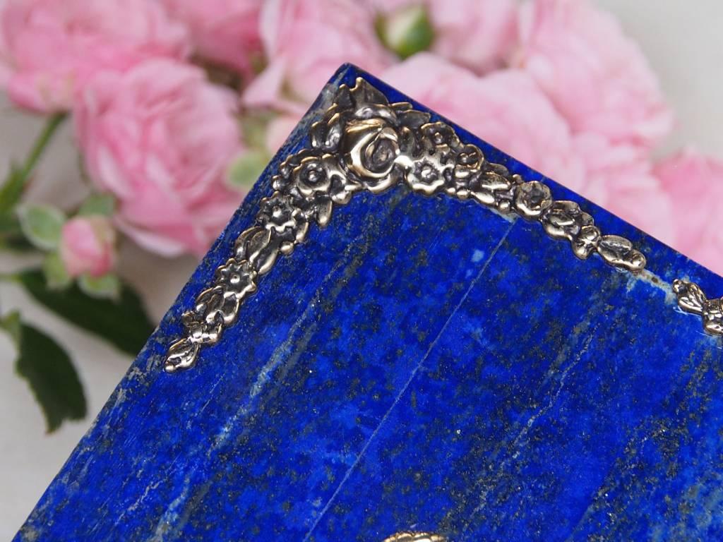 Hand Crafted stunning genuine Lapis Lazuli Gemstone Pillbox  Box Afghanistan No:18/6