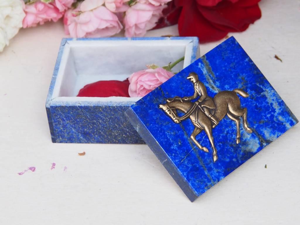 Extravagant Royal blau echt Lapis lazuli Schmuckkiste aus Afghanistan  Springreiten Nr-18/11