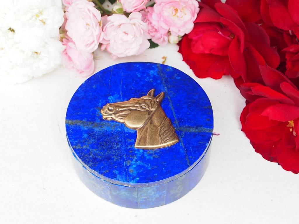 Extravagant Royal blau echt Lapis lazuli Schmuckkiste aus Afghanistan  pferdekopf Nr-18/14