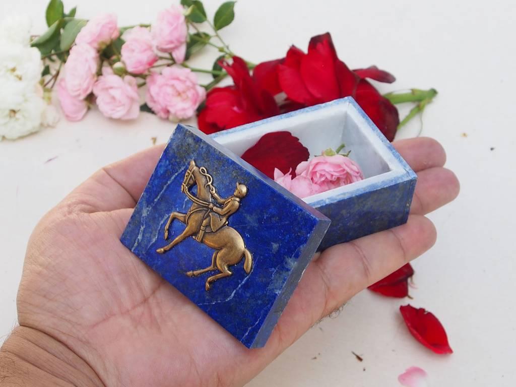 Extravagant Royal blau echt Lapis lazuli Schmuckkiste aus Afghanistan  Springreiten Nr-18/16
