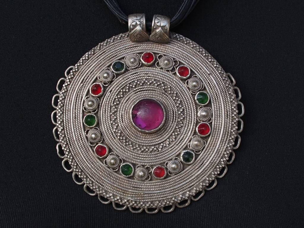 Antike  Tajik Nomaden Silber Halsmomente Kette Anhänger  Nord- Afghanistan  Nr:6