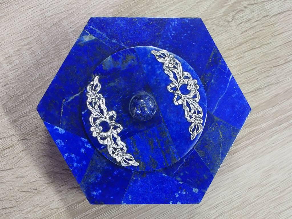 Extravagant Royal blau echt Lapis lazuli Schmuckkiste    aus Afghanistan Löwe Nr-18/22