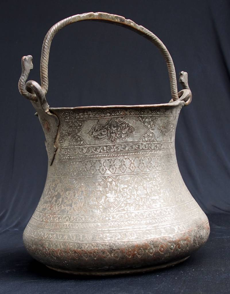Antique Large  18th to 19th century Tinned Copper bucket No: 18/B