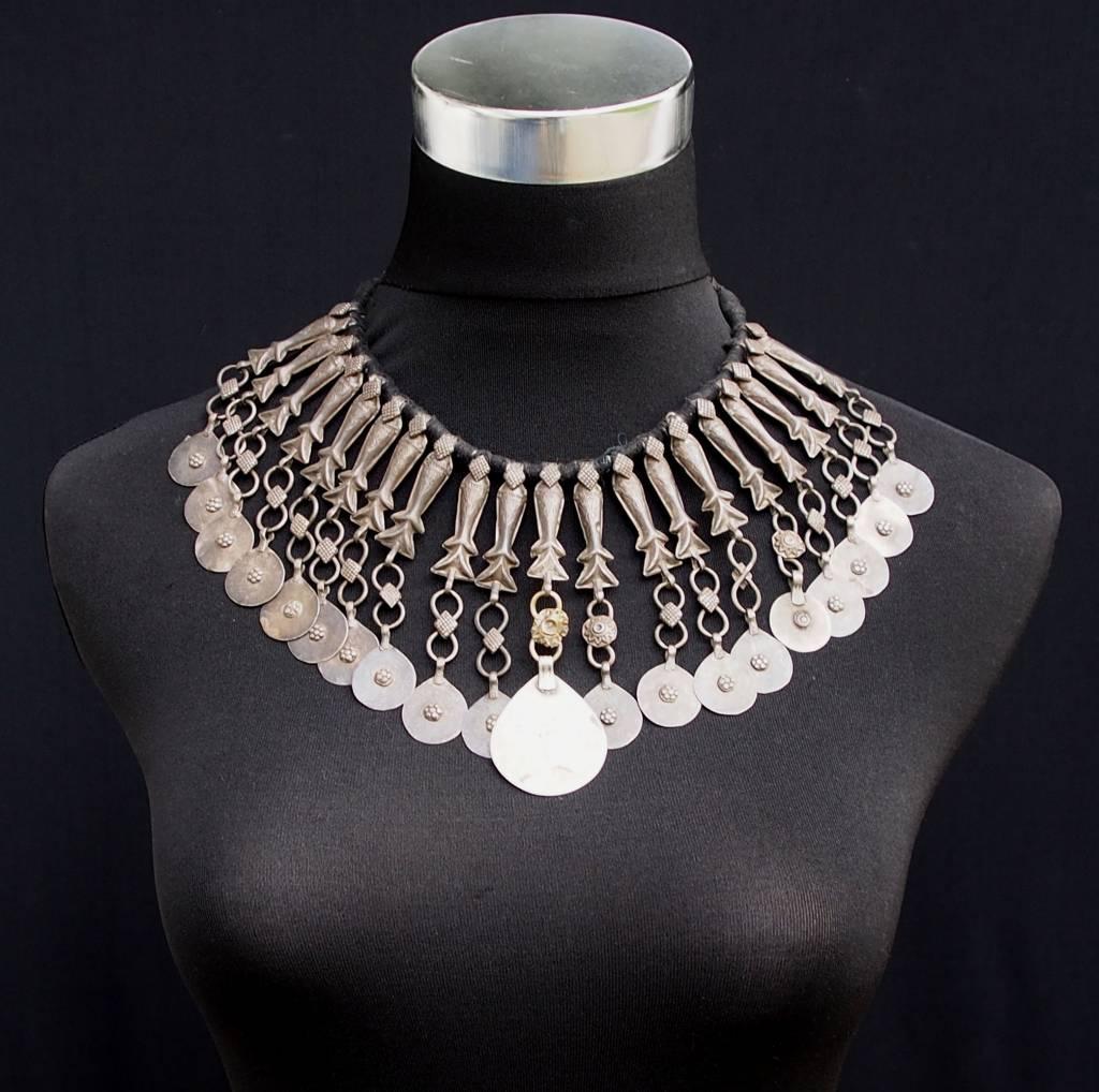 Antike Vintage Afghanische Boho Hochzeit Halskette nomaden Halskette Choker Nomadenschmuck Dorfschmuck Bauernschmuck 18/11-E