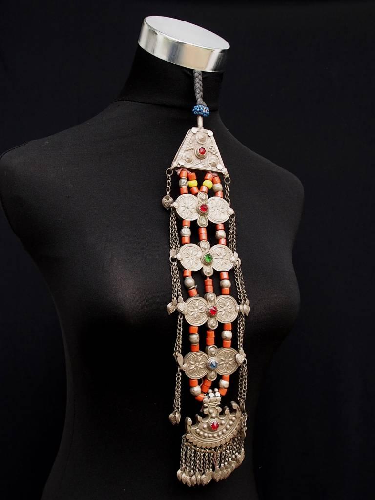 Antike Nomaden Silber Halsmomente Kette Anhänger Quast Nuristan Swat Valley Afghanistan pakistan No:18/11/G