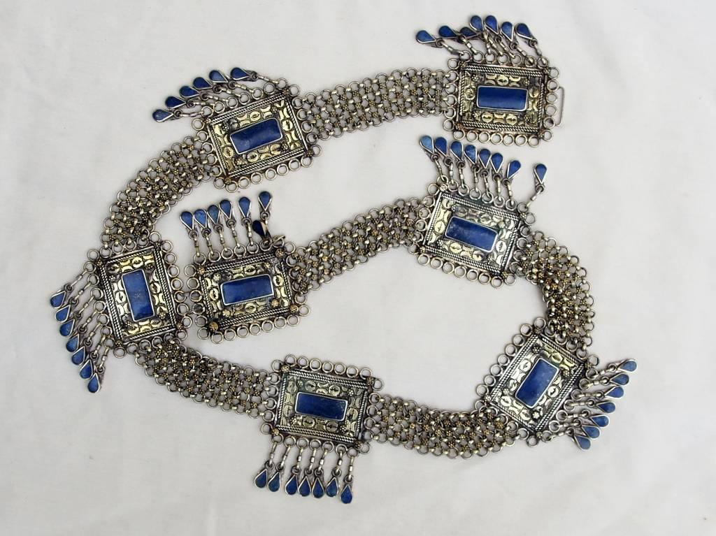 Orient Afghan tribal bellydance bauchtanz Gürtel belt Lapis / Neusilber Nr:B