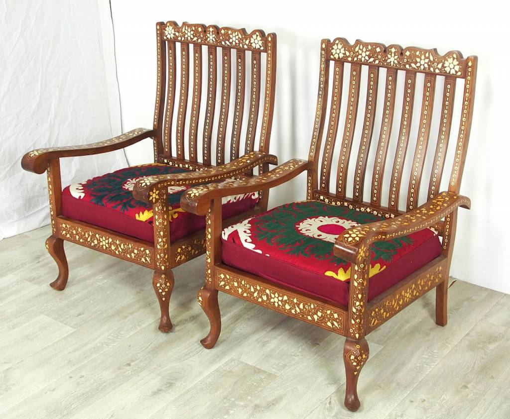antik 3-teilige indian anglo Couch Garnitur Sofagarnitur Sessel Stuhl mit suzani