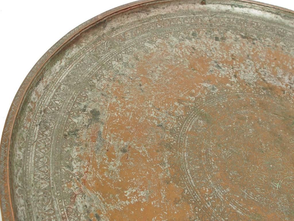 antik Massiv osmanische Kupfer tablett No:19/1