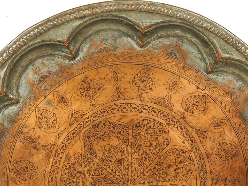 62 Ø antik osmanische islamische ägyptisch marokkanisch orient Kupfer tablett Teetisch Teller beisteltisch tisch aus Afghanistan No:16/26