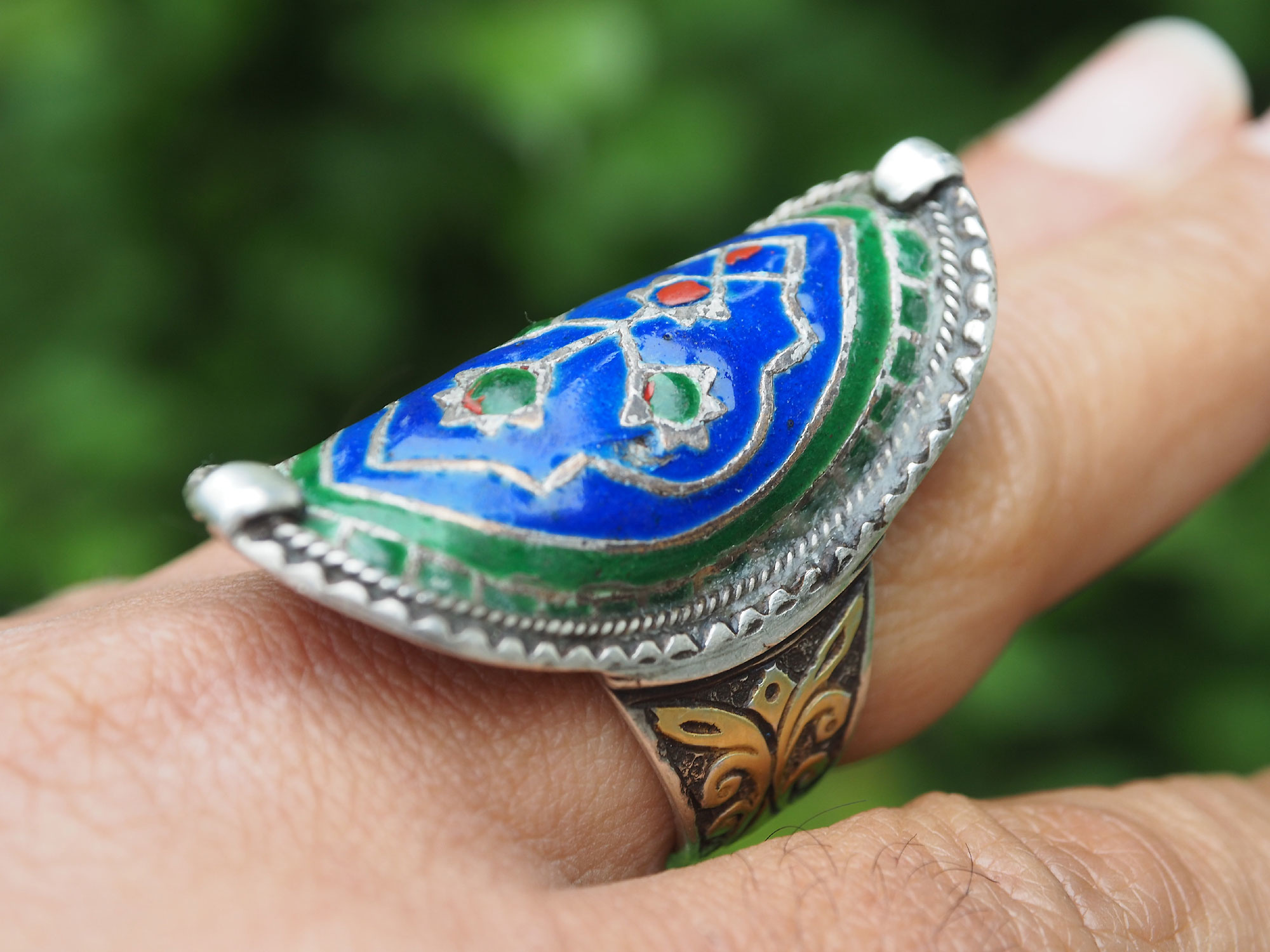 antique Multan enamelled Ring Nr:507