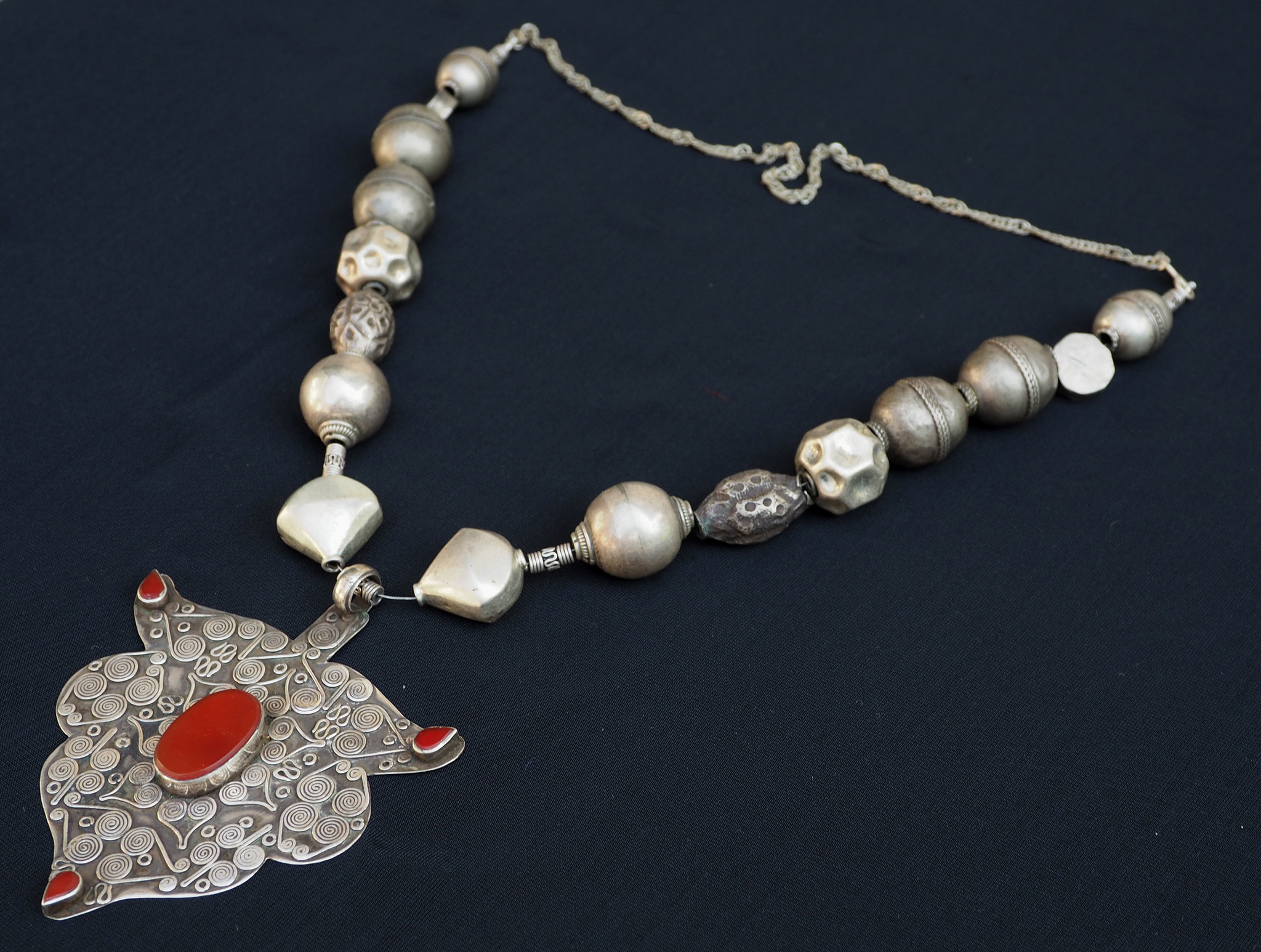 Ethnic Turkmen tribal  silver  necklace Kette Nr:D