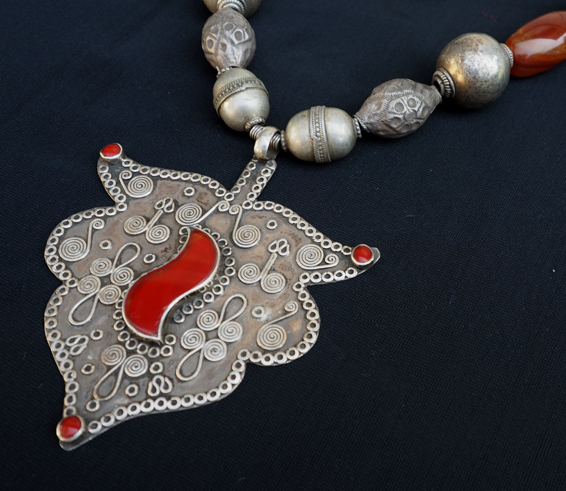 Ethnic Turkmen tribal  silver  necklace Kette Nr:E