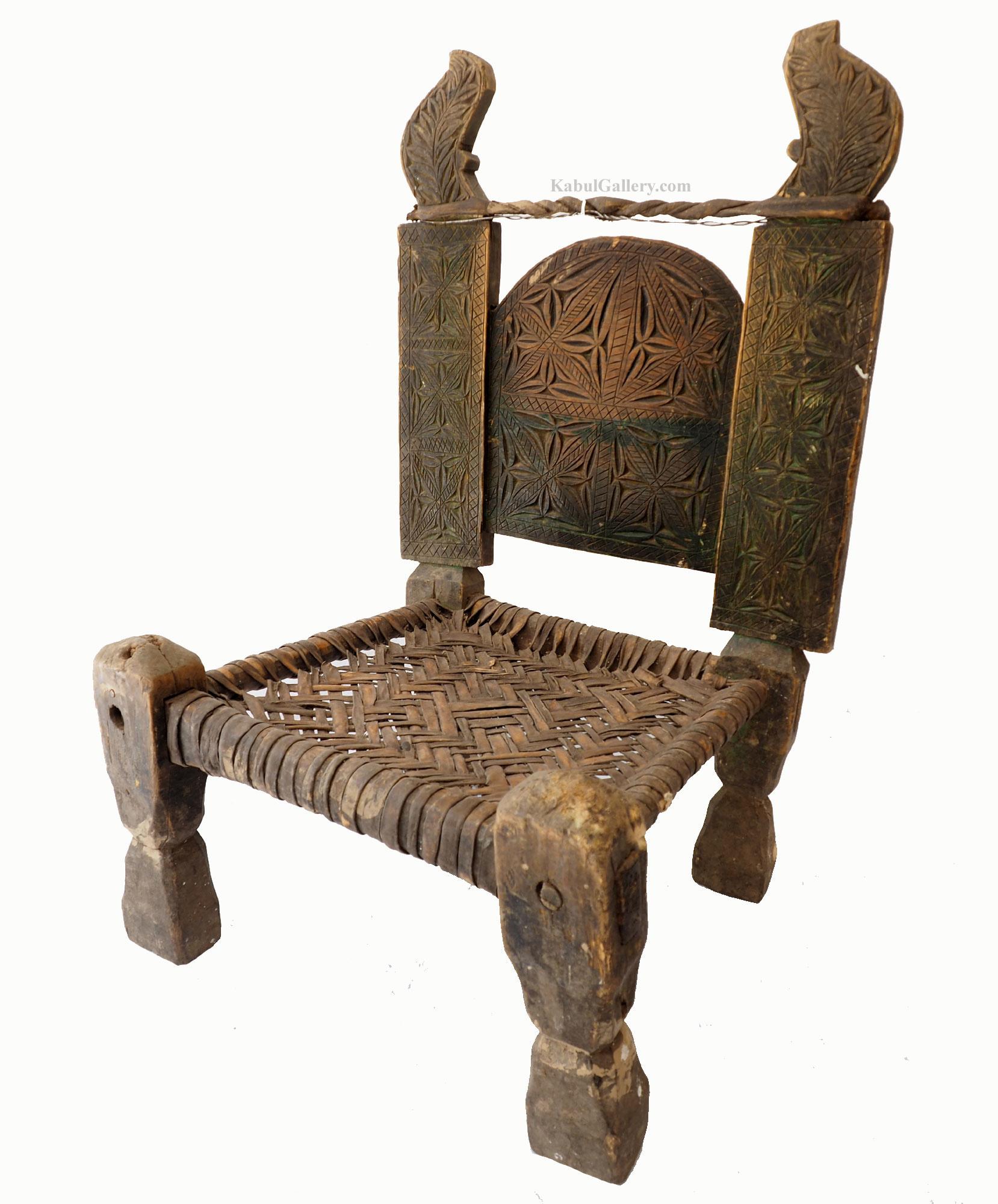 Antique Nuristan Chair Stuhl No:J