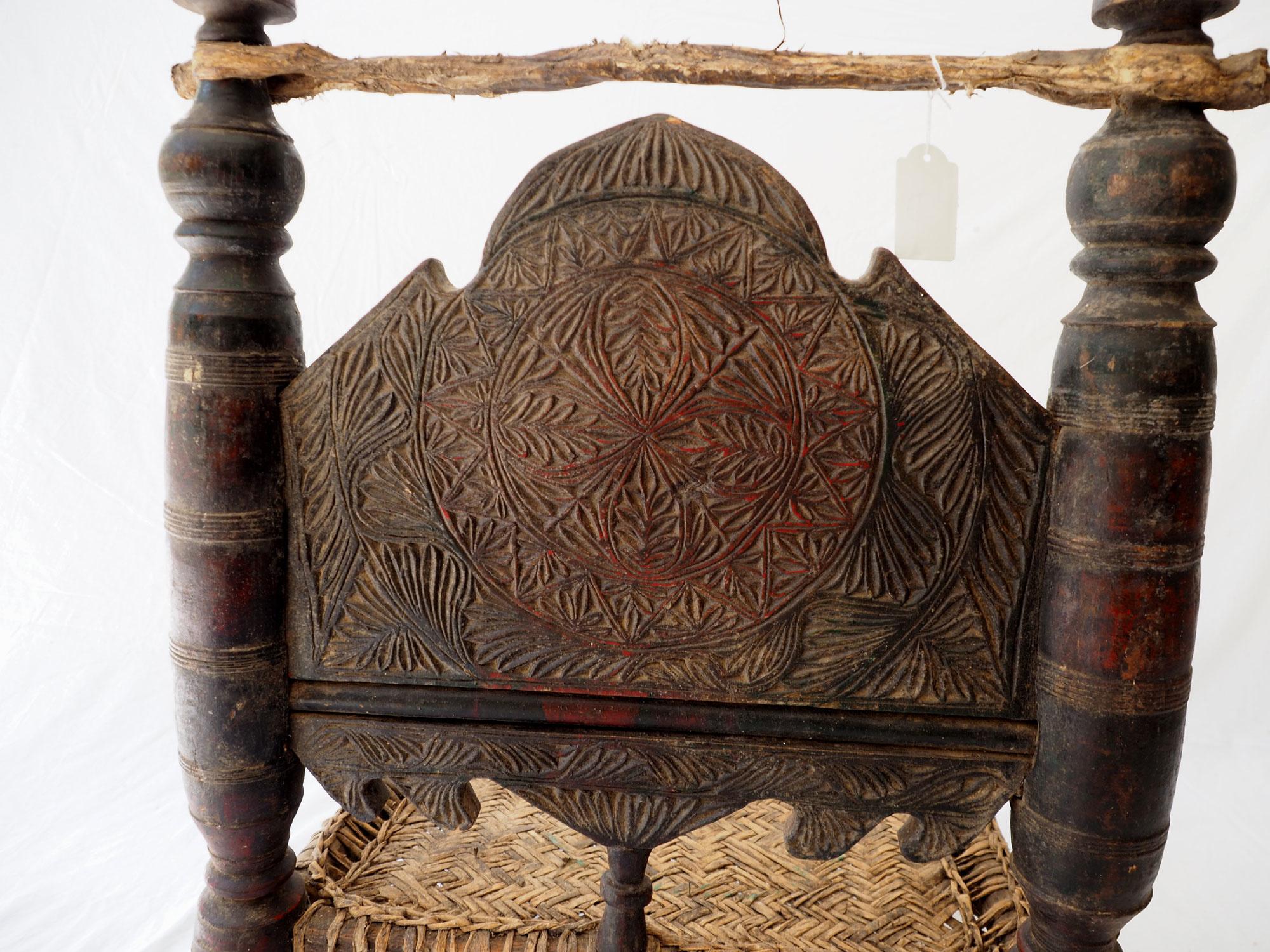 Antique Nuristan Chair Stuhl No: F