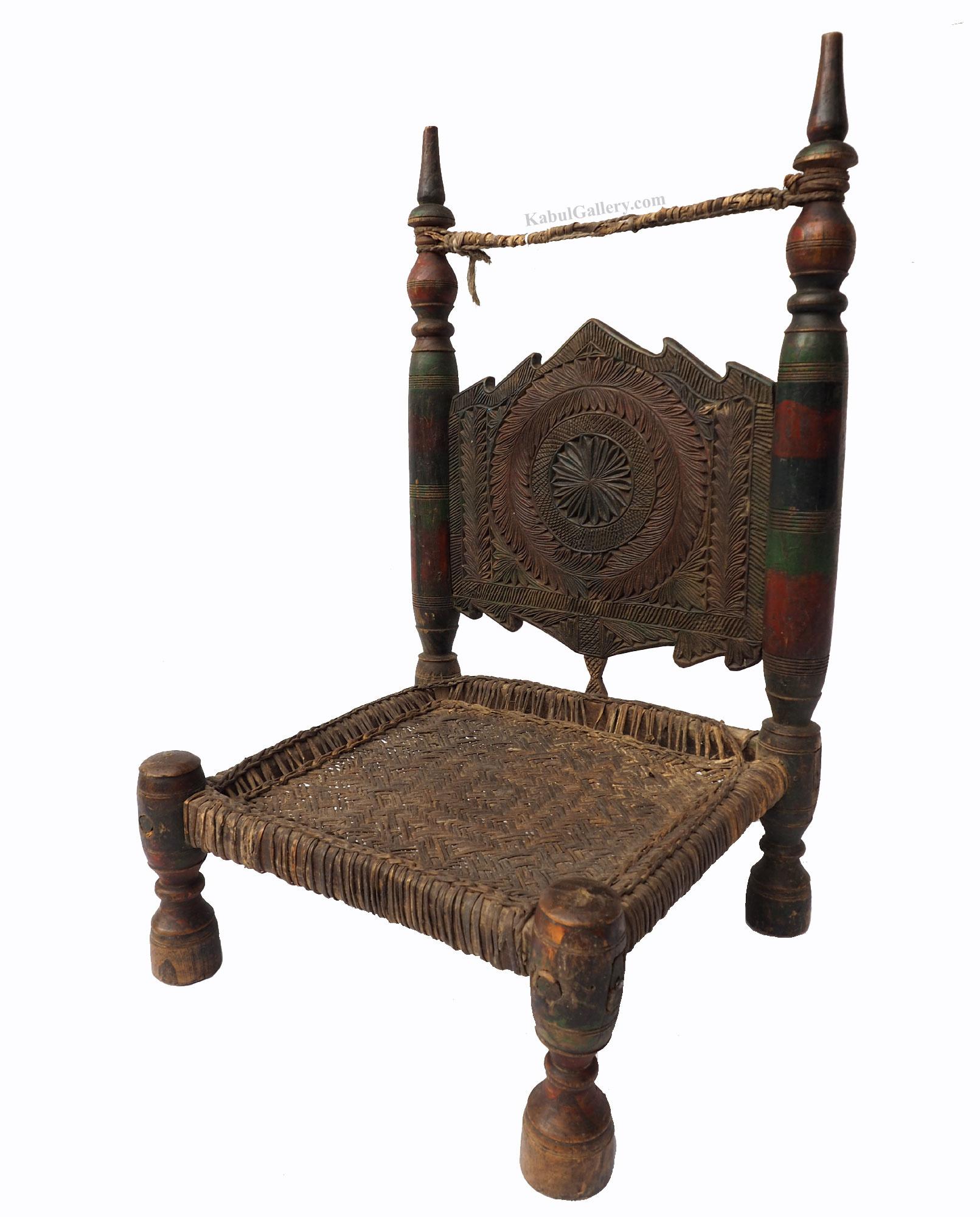 Antique Nuristan Chair Stuhl No: D
