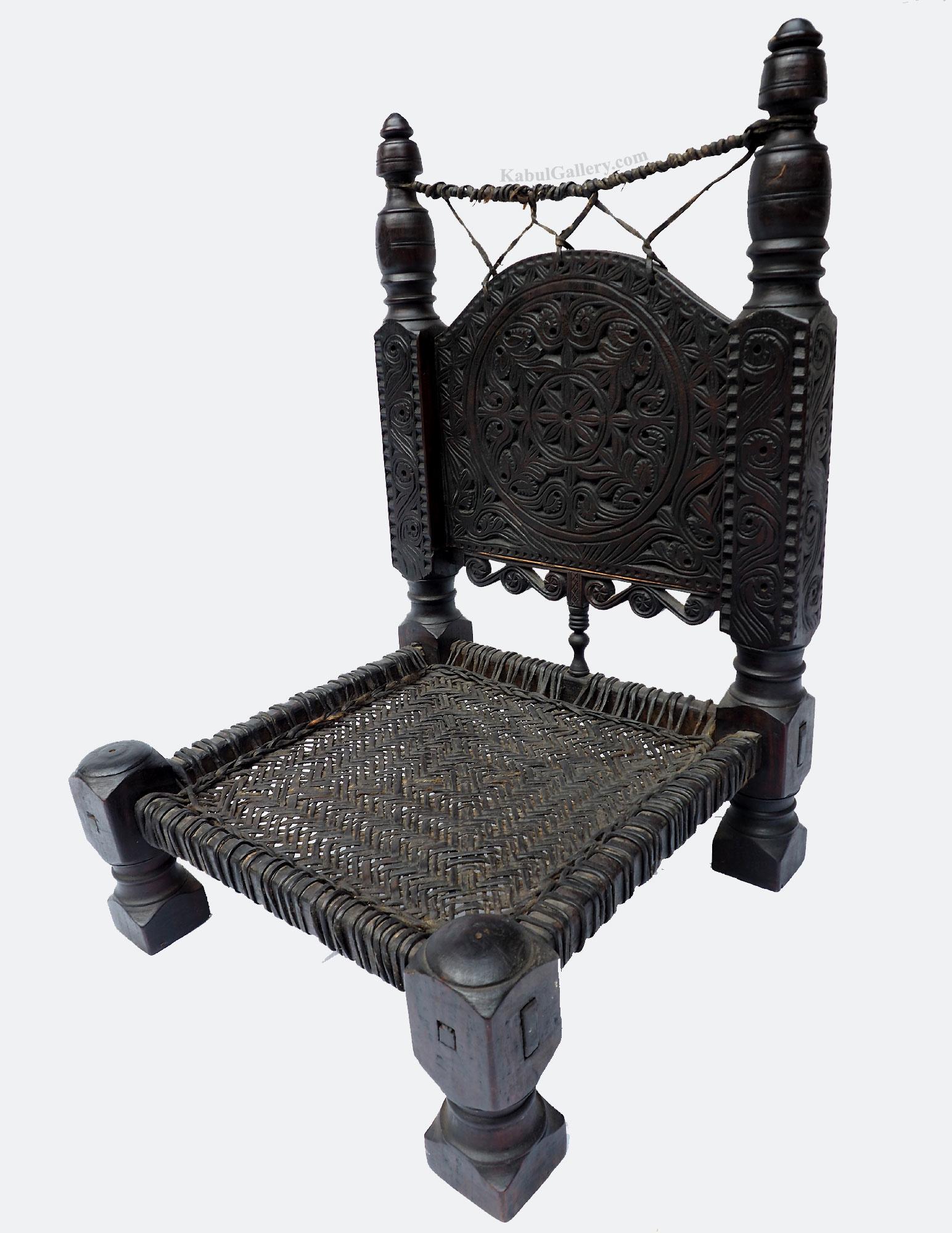 Antique Nuristan Chair Stuhl No:19/B