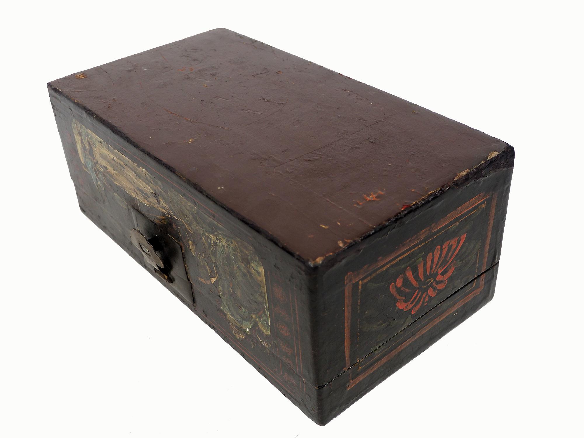 Antike Japan/China Holz Kiste schatulle BLAK