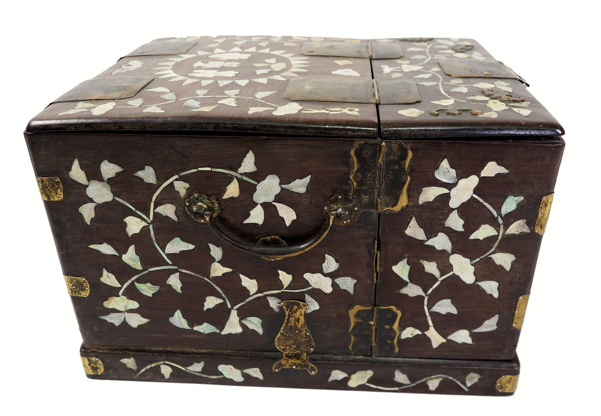 antike Chinesisch Palisander Holz Schmuckschatulle schminkkiste schminkkoffer mit Spiegel und Perlmutt Intarsien 19th century Rarität