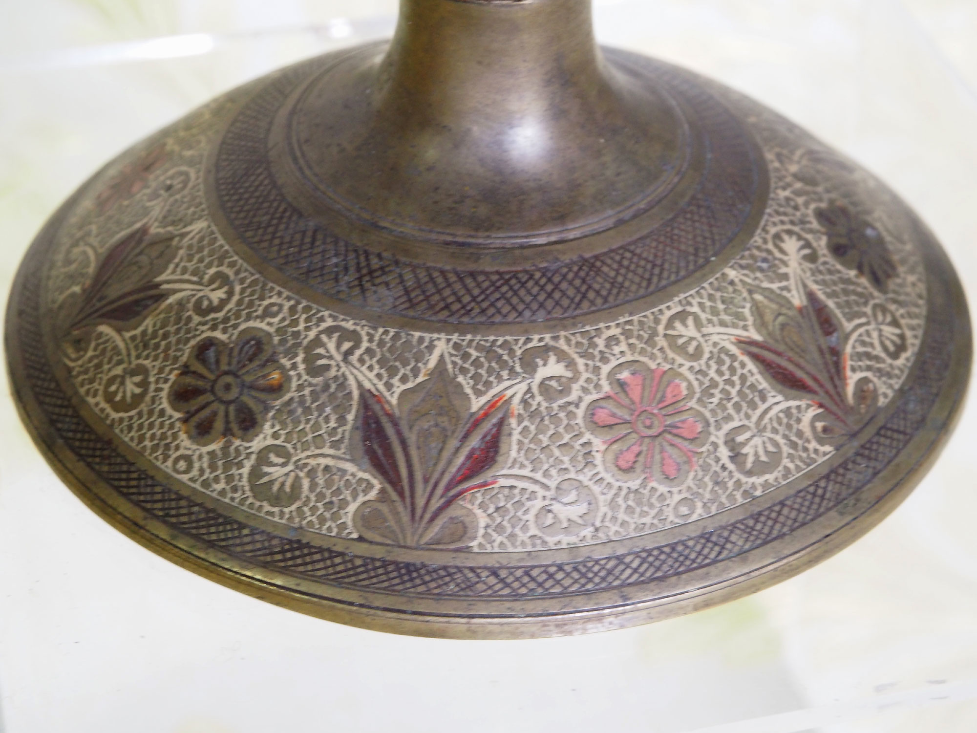antik Emailarbeit Vase topf schale fußschale Messing Kahmir indien Nr:19/8