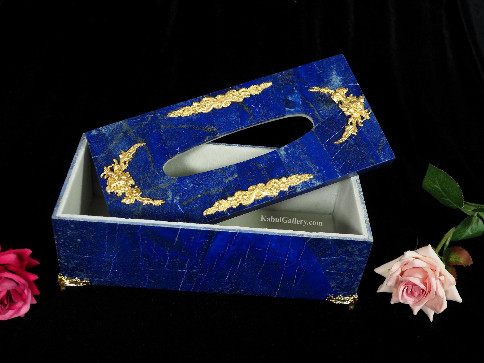 Lapis lazuli taschentuchbox taschentuchhalter serviettenhalter  19/A