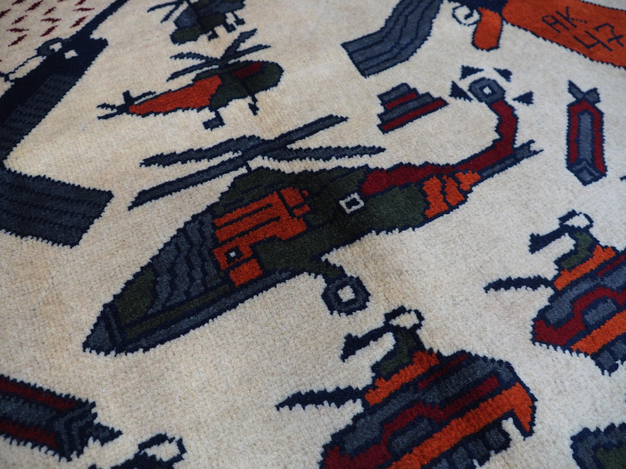 Afghan Kriegteppich Handgeknüpf Teppich Afghanistan panzer kampfjet gewehr USA Army Nato ISAF war rug Nr:19/12