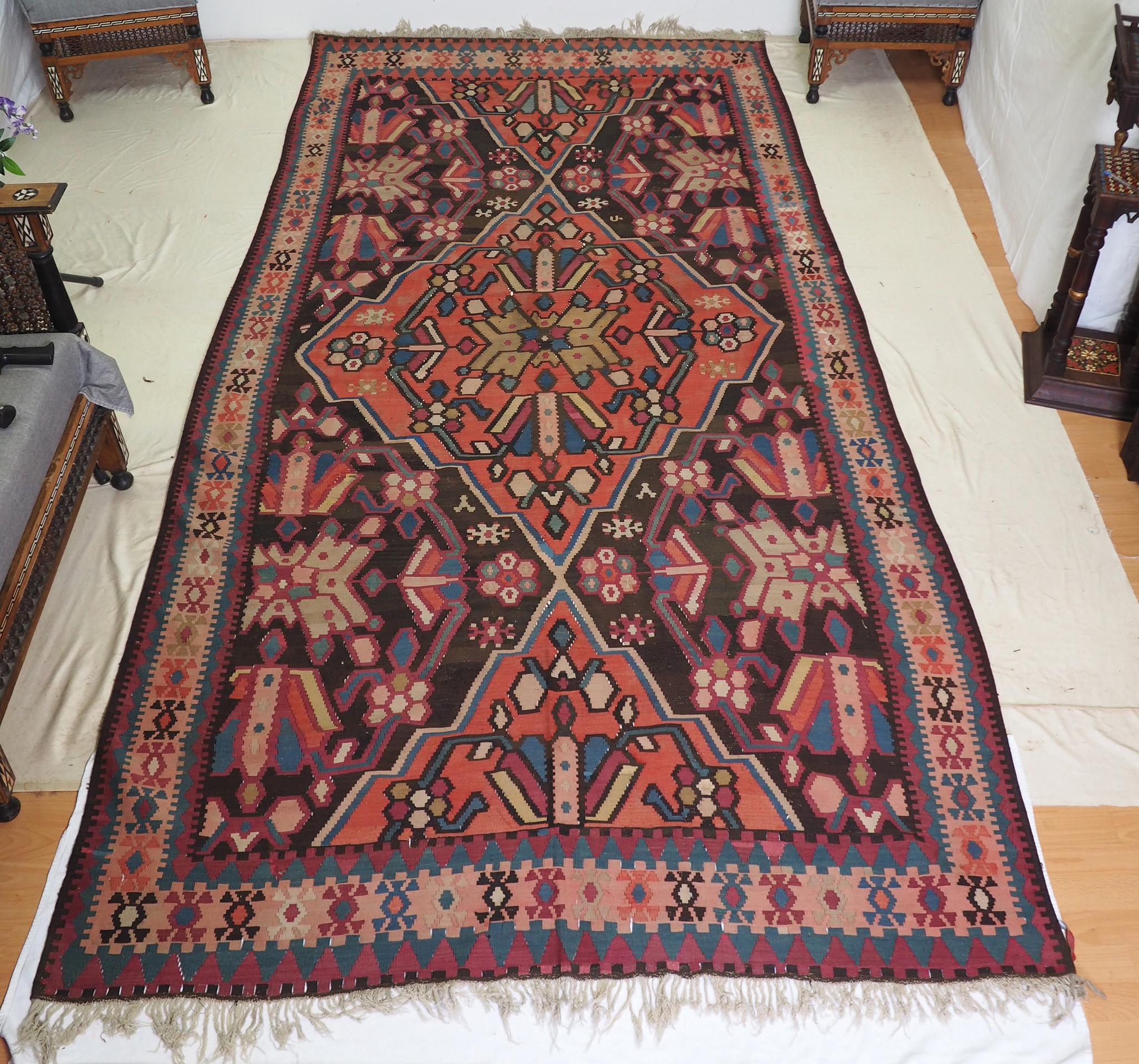 366x180 cm antike handgewebte orient kazak Teppich Nomaden kaukasische kelim No:808