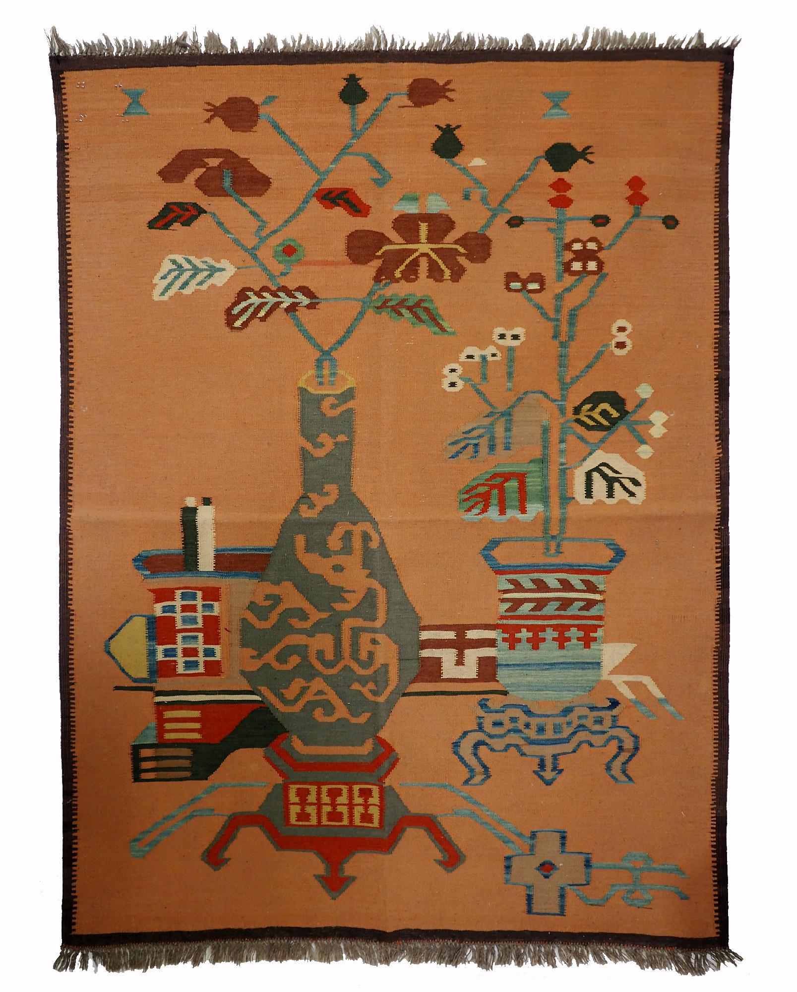 140x104 cm handgewebte orient kazak Teppich Nomaden kaukasische kelim No:506