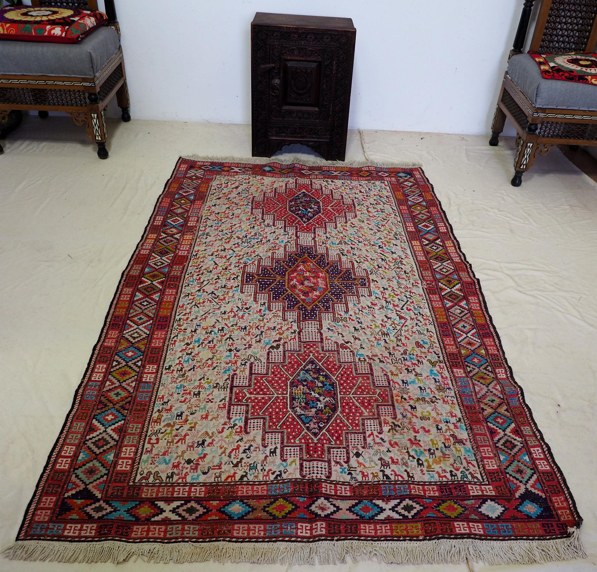 190x120 cm orient handgewebte Teppich Nomaden belotsch sumakh seiden kelim Beloch kilim Nr-19/101