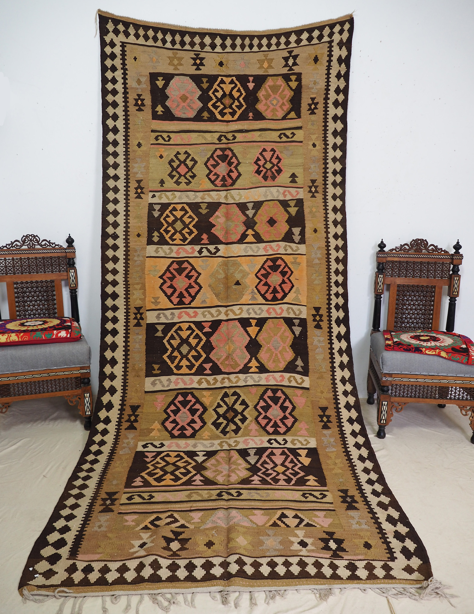 320x125 cm antike handgewebte orient kazak Teppich Nomaden kaukasische kelim No:327