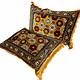 Set of 3 Pcs  1x Mattress  + 2x cushions orient Afghan nomad pillow rug seat floor cushion 1001-night Seating  majlis Toshak توشک  (Gold)