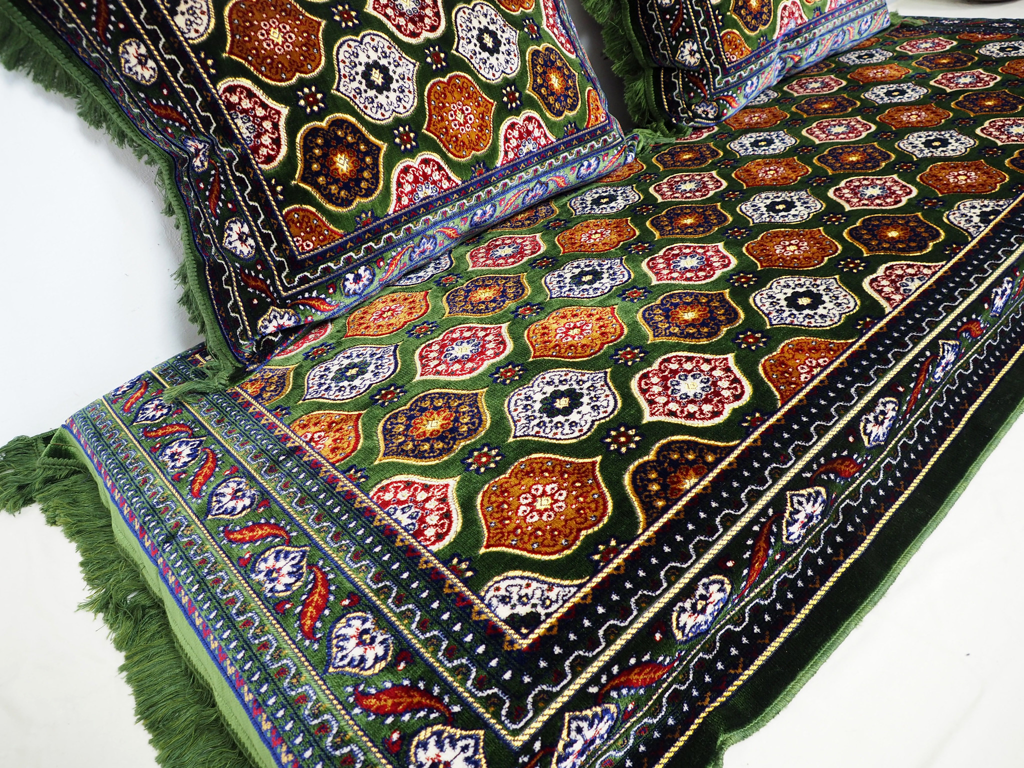 Set of 3 Pcs  1x Mattress  + 2x cushions orient Afghan nomad pillow rug seat floor cushion 1001-night Seating  majlis Toshak توشک  (Green)