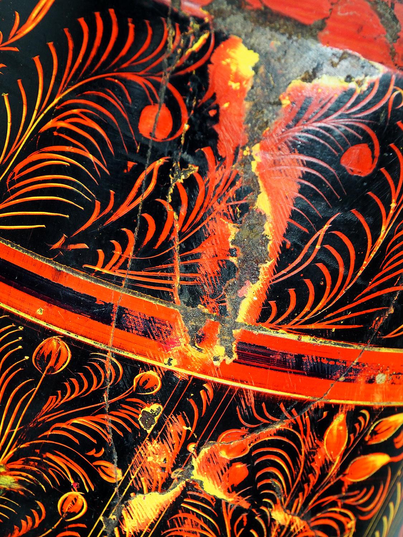 orient handgearbeitete Lacquerware Massiv Holz Flasche aus Afghanistan Pakistanv Rot
