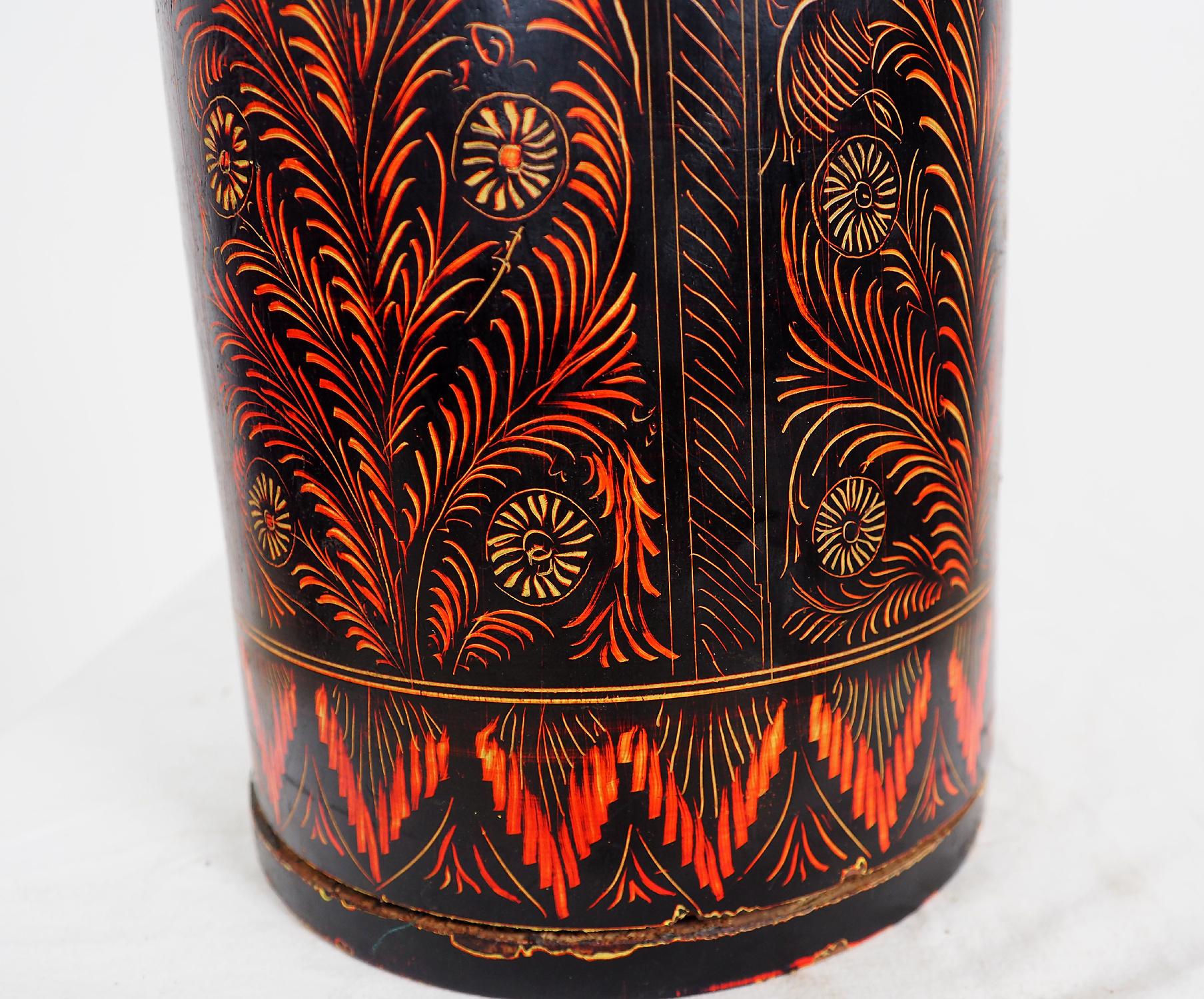 orient handgearbeitete Lacquerware Massiv Holz Flasche aus Afghanistan Pakistanv Schwarz