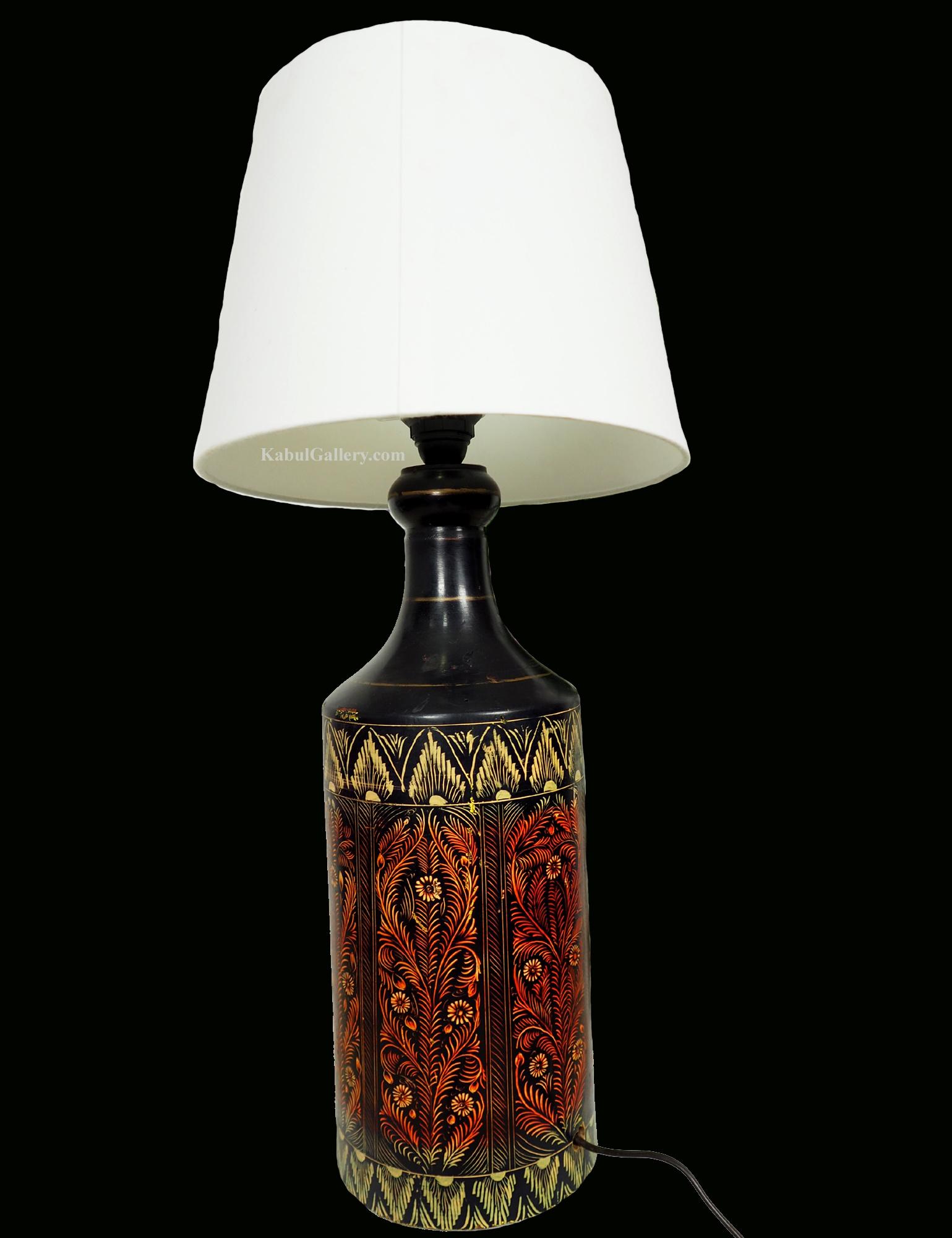 rient handgearbeitete Lacquerware Massiv Holz Flasche Lampe Lampenfuß Lampensockel aus Afghanistan Pakistan