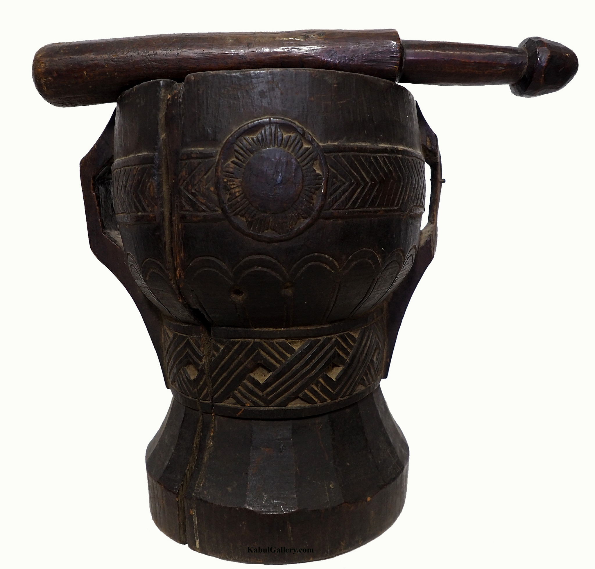 ANTIQUE NURISTANI WOODEN MORTAR  AND PESTLE No: A