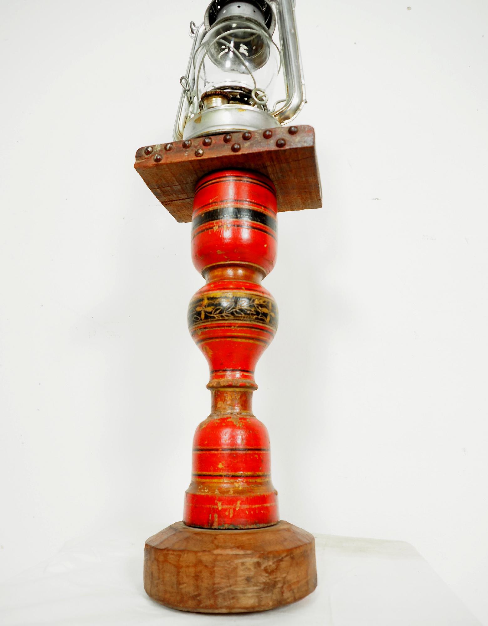 Antique Lacquerware Massiv Holz lampenständer  Nr: A