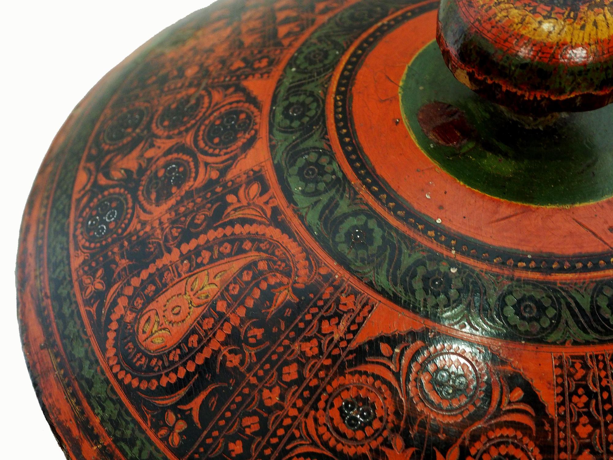 Antik orient Lacquerware Holz Gewürzdose Dose Teedose Gefäß Afghanistan Pakistan Nr:19/5