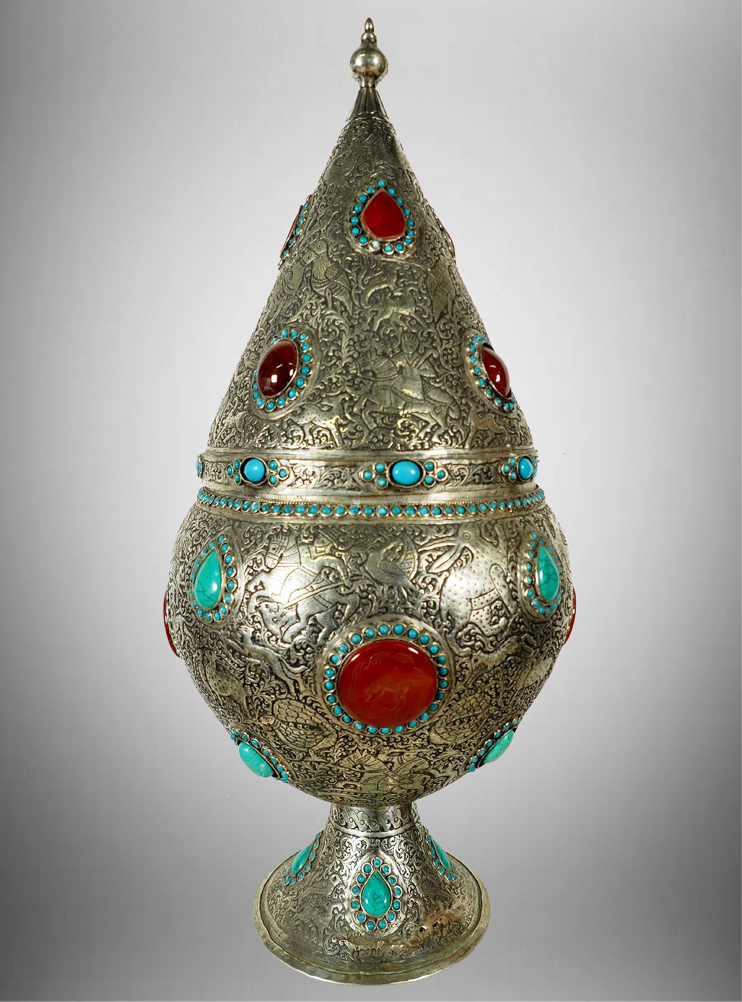 Extravagant orient nickel silver box casket Tin box jewelry box casket lidded amphora carnelian turquoise decorated Gadur Afghanistan 19/A