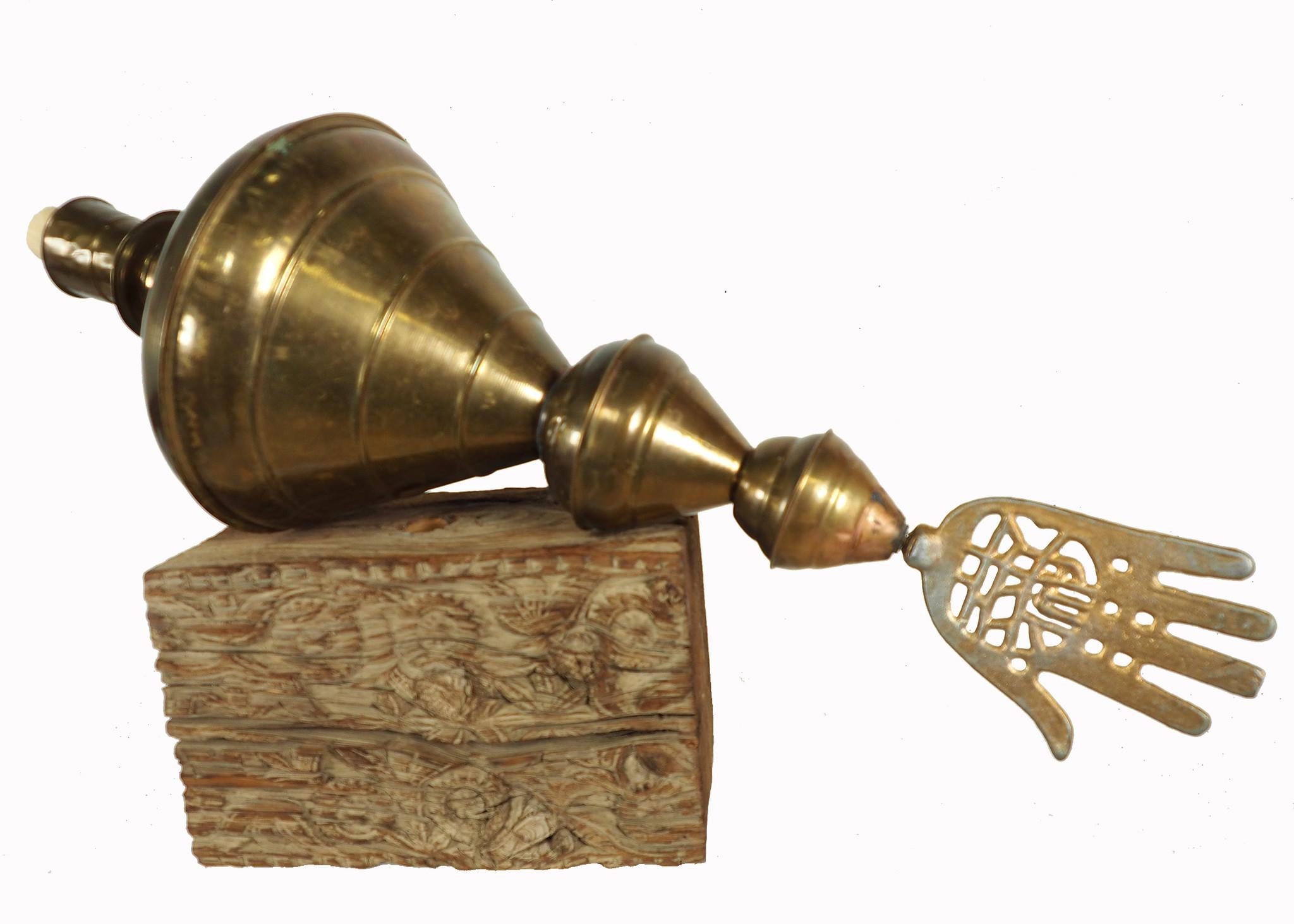 Antique Islamic brass mosque minaret lace Alam hand of fatima wood pedestal 19