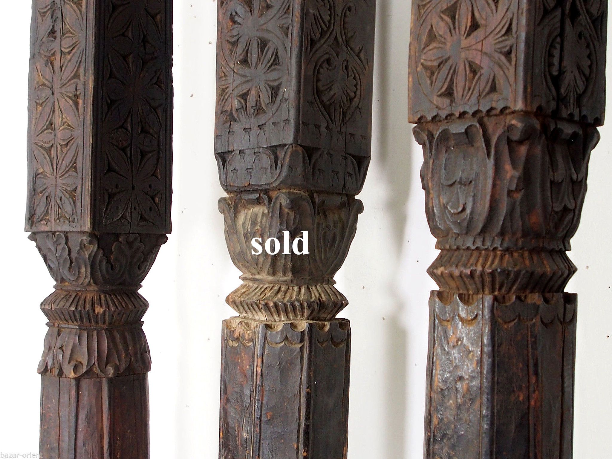 antique orient solid hand-carved wooden Pillar column from Nuristan Afghanistan antike Säule Swat Nr-A