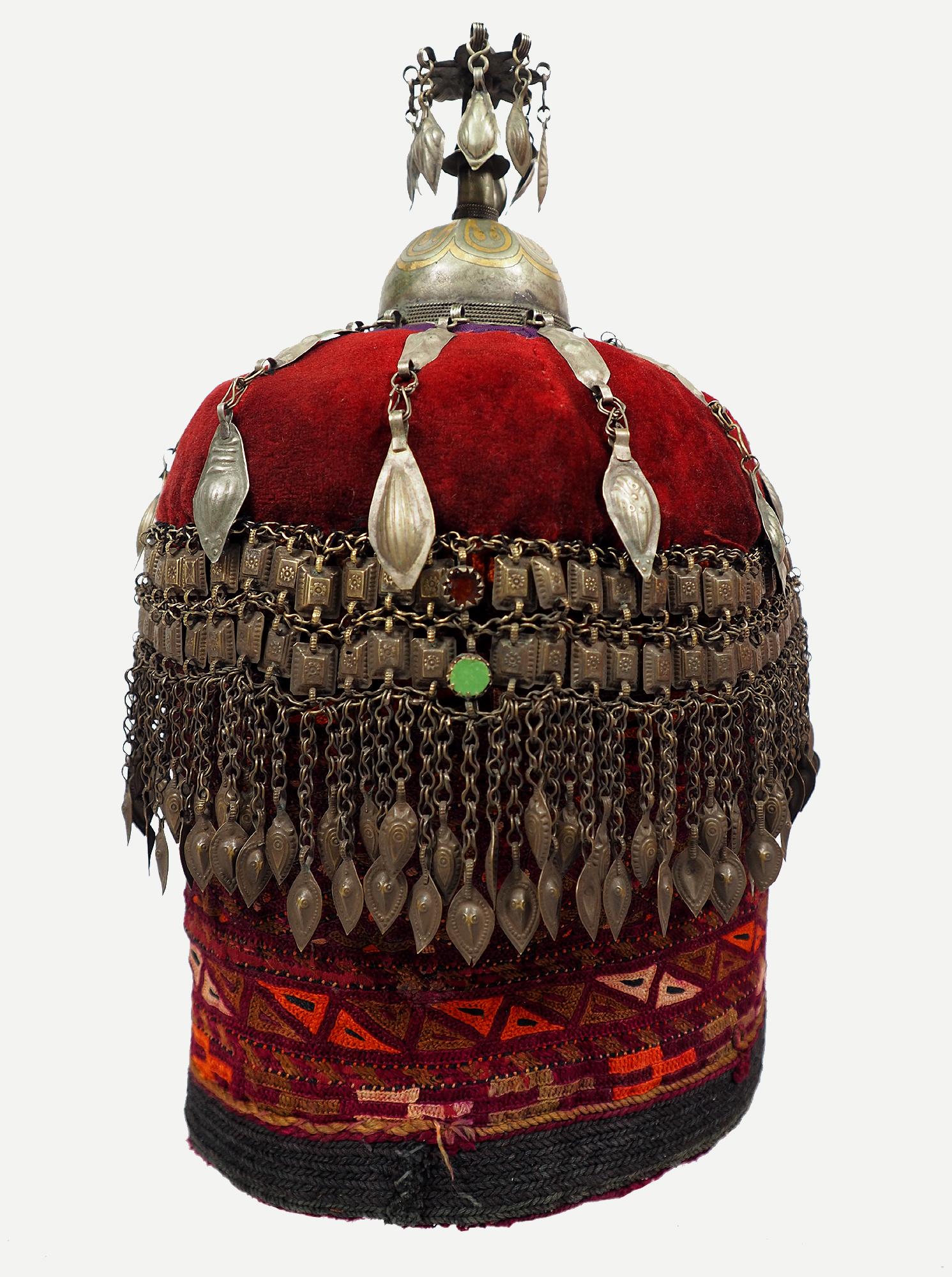 antique Tekke Turkmen Cap jewellery for girls of marriageable age 19th century  silver ornate hat women,s wedding headdress  Turkmeistan 20E
