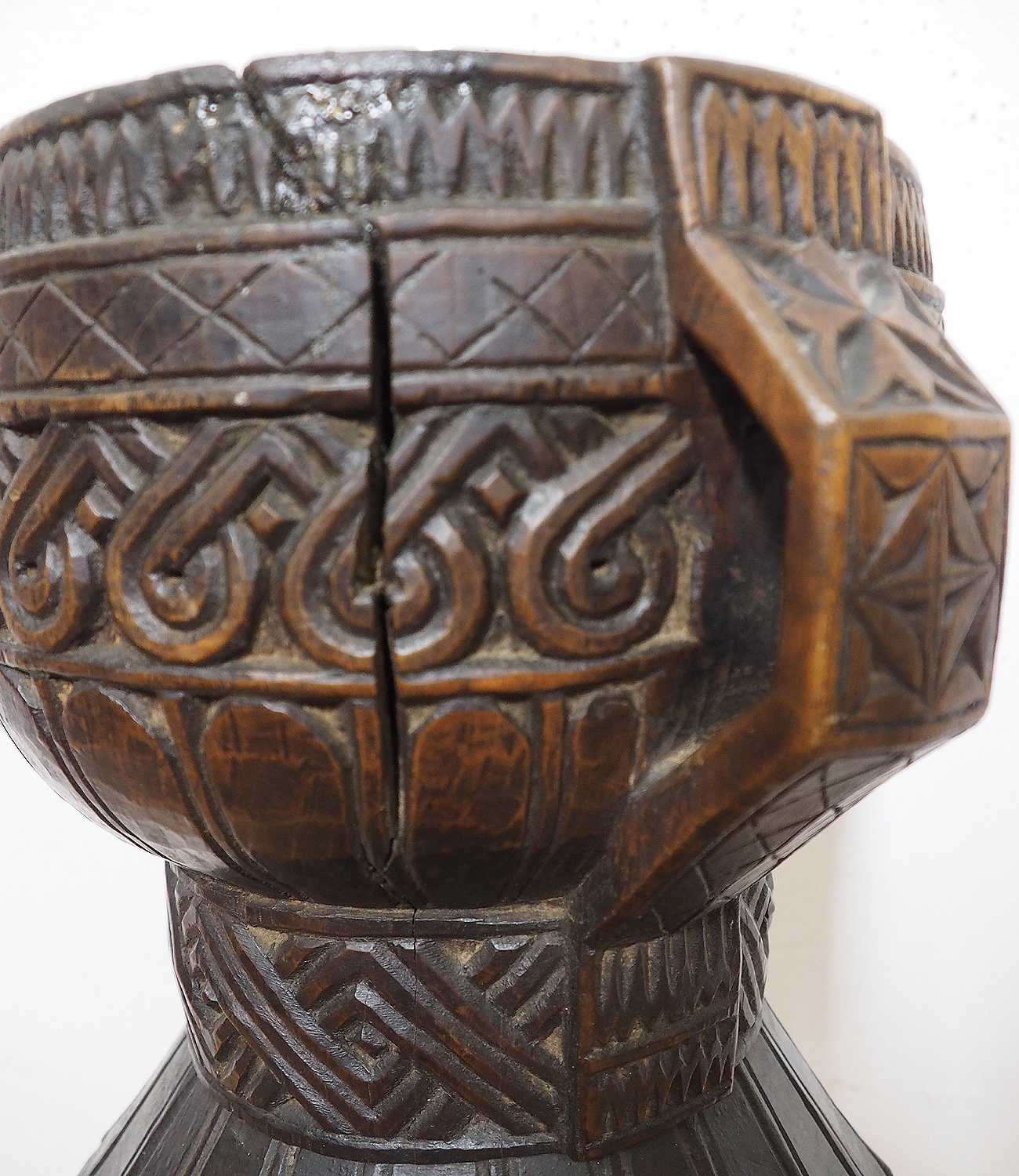 ANTIQUE NURISTANI WOODEN MORTAR  AND PESTLE No: ULM/A