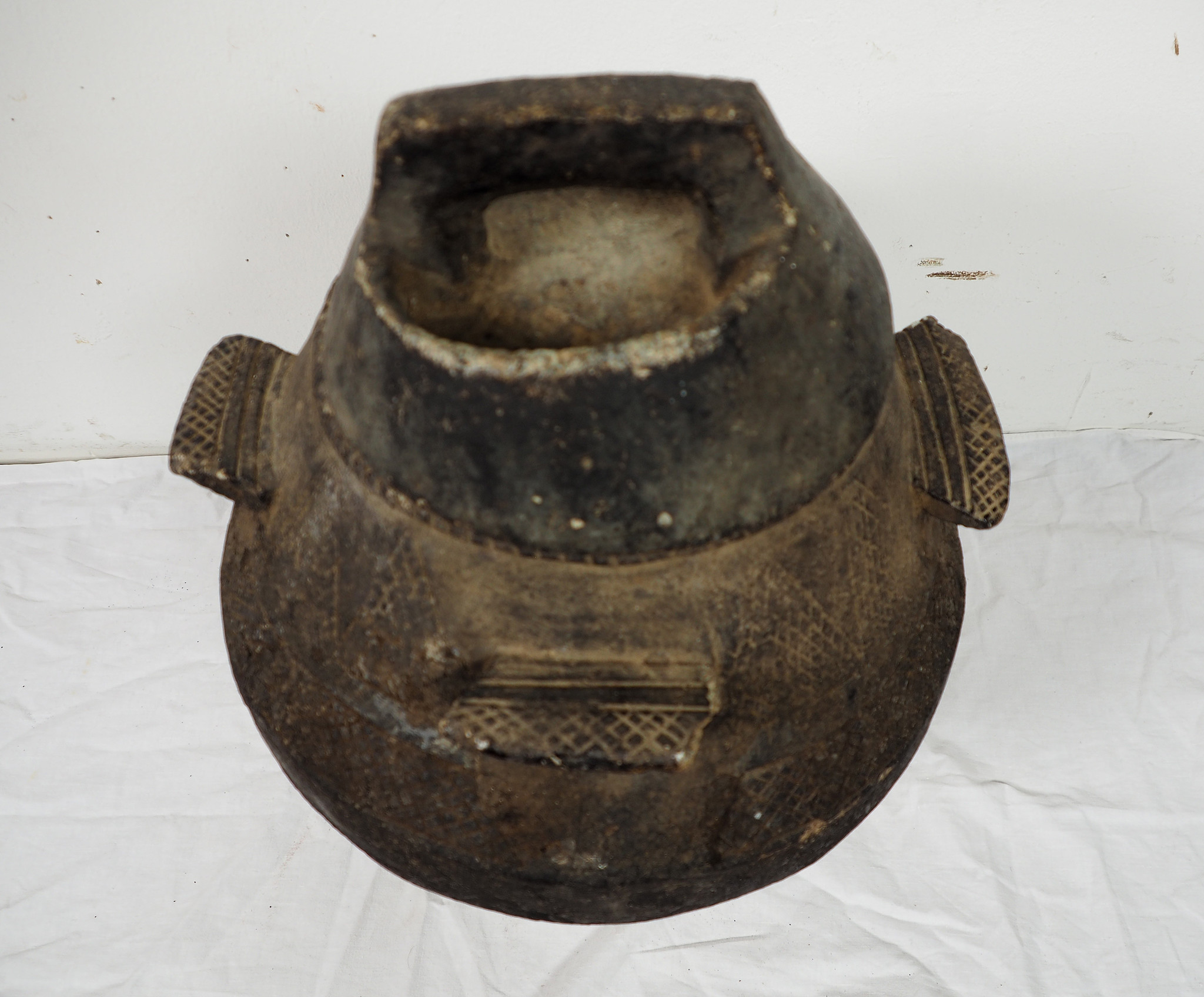 antique Islamic soapstone Large antique heavy tool gray stone cooking pot bowl vessel carved Artifact from Afghanistan / Pakistan Nr:HH